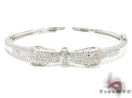 Bow Bangle Bracelet Las Diamond White Gold 14k Round Cut