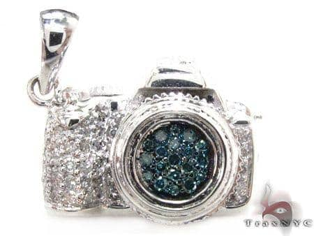 Blue diamond digital camera pendant mens diamond pendant white gold mens diamond jewelry mens pendants metal blue diamond digital camera pendant mozeypictures Image collections