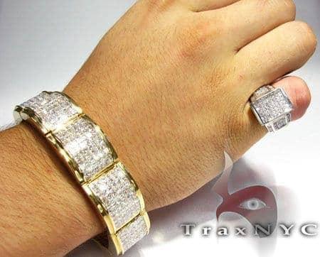 Mercury Bracelet Mens Diamond Bracelet Yellow Gold 14k Princess