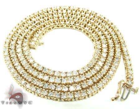 Yellow Gold Diamond Chain 24 Inches, 3mm, 33.70 Grams Diamond