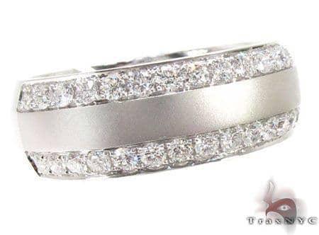Dual Row Mens White Gold Wedding Ring Stone