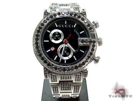 d7cbc5c566f Mens Diamond Jewelry   Diamond Watches   Gucci   Fully Iced Black Diamond Gucci  101G Chrono YA101309