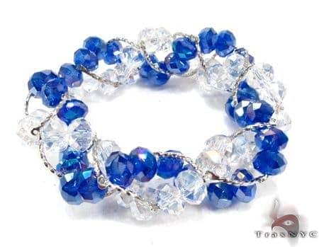 Blue Crystal Bead Bracelet Gemstone & Pearl