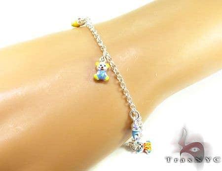 Childs Silver Enamel Teddy Bear Bracelet 19605 Silver & Stainless Steel
