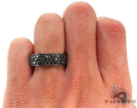 3 Row Black Diamond Ring Mens Style White Gold 10k Round Cut 3 30 Ct
