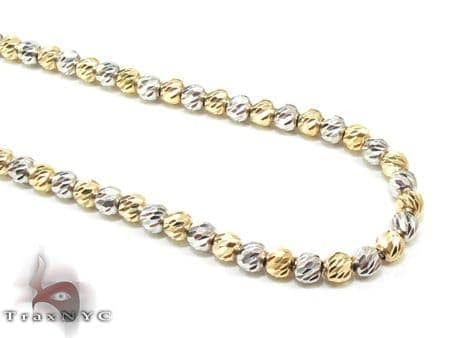 Two Tone Moon Cut Chain 16 Inches 2.5mm 10.6 Grams Gold