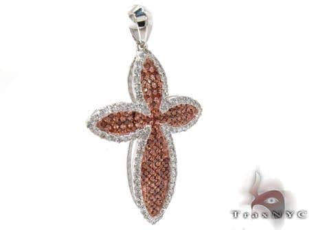 White Gold Round Cut Prong Two Color Diamond Cross Style
