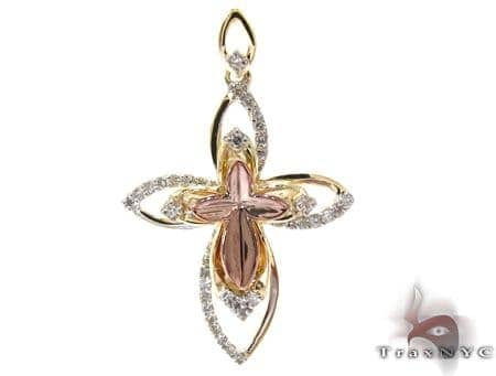 Two Tone Gold Round Cut Prong Diamond Cross Style