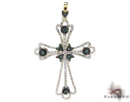 Yellow Gold Round Cut Prong Bezel Two Color Diamond Cross Style