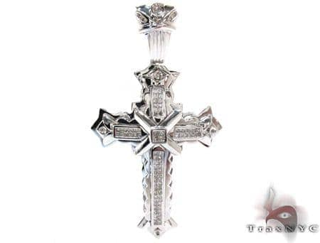 fdb9e114023e6 White Gold Round Princess Cut Invisible Bezel Diamond Cross Crucifix ...