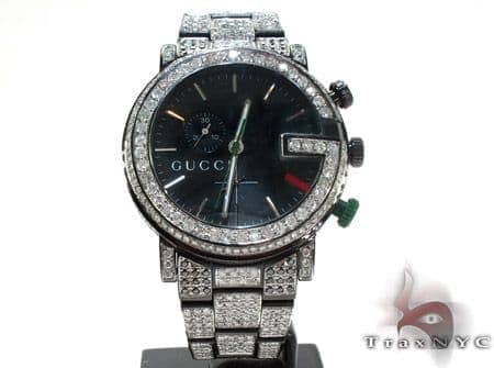 Gucci Chrono Black & White Full Diamond Watch Gucci