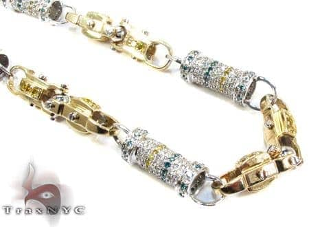 Two Tone Gold Round Cut Prong Multi Color Diamond Chain 30 Inches, 7mm, 97.58 Grams Diamond
