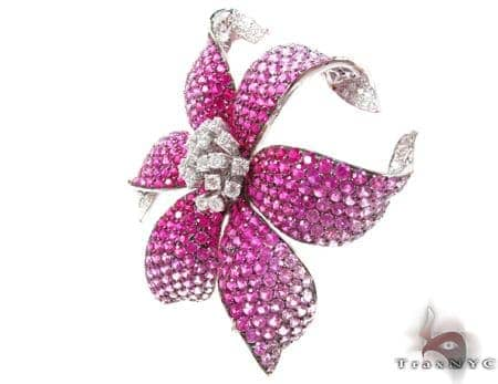 White Gold Pink Shades Sapphire & Diamond Flower Brooch Stone