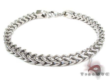 White Stainless Steel Chain Bracelet Silver