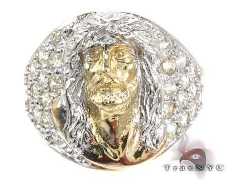 Two Tone 10K Gold CZ Jesus Ring 25244 Metal