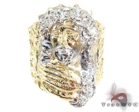 Two Tone 10K Gold CZ Small Jesus Ring Metal