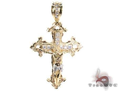 Yellow 10K Gold CZ Jesus Cross Pendant 25314 Gold
