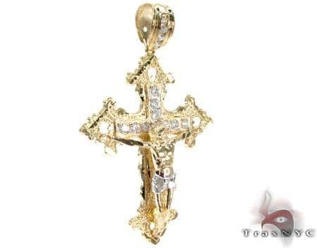 Yellow 10K Gold CZ Jesus Cross Pendant 25315 Gold