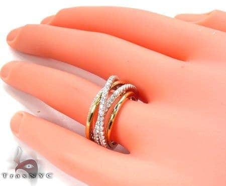 18K TwoTone Gold Twist Diamond Ring Ladies Womens Diamond Ring Two