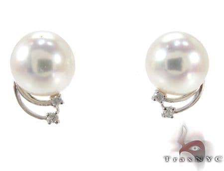 Orion White Pearl Diamond Earrings Stone