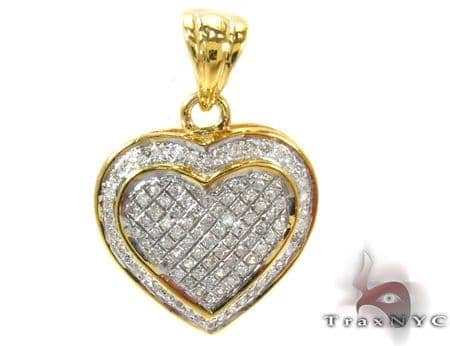 Heart Prong Diamond Silver Pendant 27655 Style