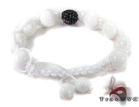 White Bead Black Crystal Bracelet 27745 Silver & Stainless Steel