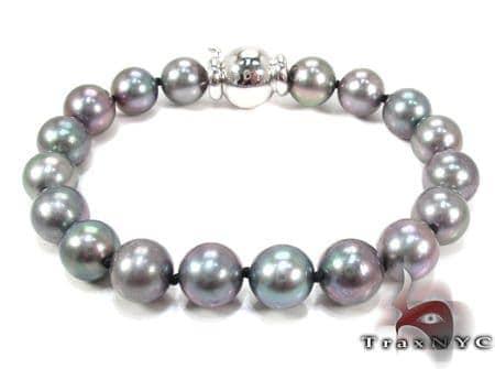 White Gold Pearl Bracelet 28146 Gemstone & Pearl