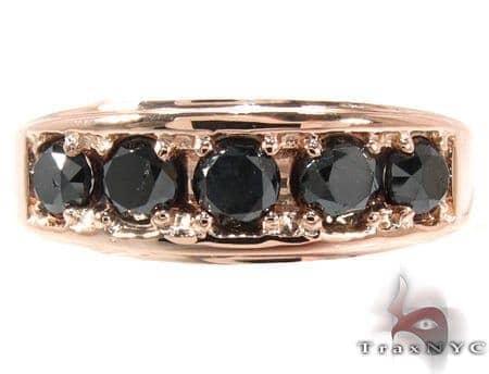 14K Rose Gold Black Diamond Band 28402 Stone