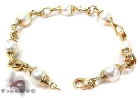 14K Yellow Gold & Pearl Bracelet Gold