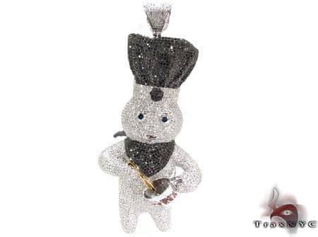 Custom dough boy pendant mens metal two tone gold 10k round cut 1160 ct mens diamond jewelry mens pendants metal custom dough boy pendant aloadofball Images
