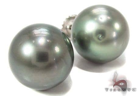 Black Pearl Earrings 31768 Stone