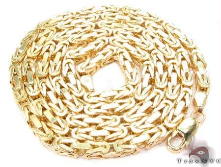 14K Yellow Gold Byzantine Chain 24 Inches 3 5mm 46 Grams