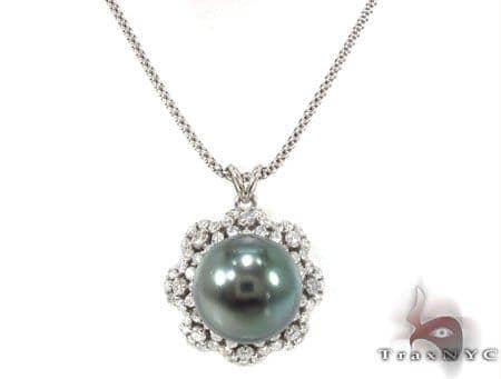 Black Pearl Diamond Necklace 32669 Pearl