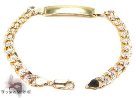10K Cuban Diamond Cut ID Bracelet 33049 Gold