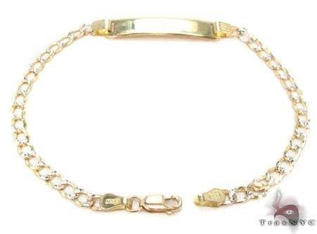 10K Cuban Diamond Cut ID Bracelet 33050 Gold