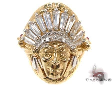 CZ 10K Gold Indian Head Ring Mens Gold Ring Yellow Gold 10k