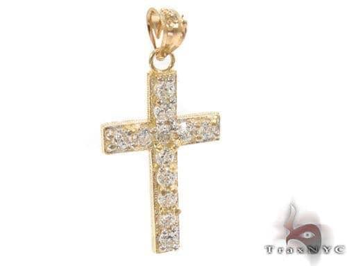 CZ 10K Gold Cross 34137 Gold