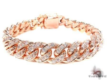 Diamond Miami Link Bracelet Mens Diamond Bracelet Rose Gold 14k