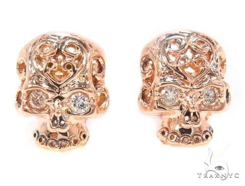 Mens Rose Gold Skull Earrings Mens Style Rose Gold 14k Round Cut