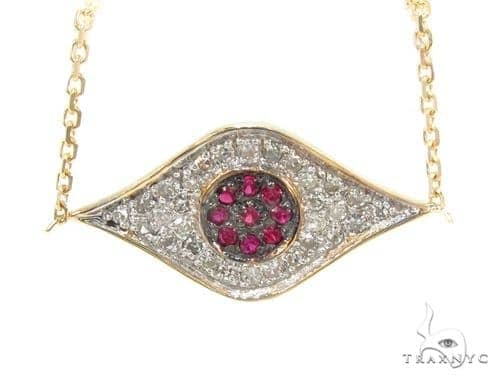 Prong Diamond Ruby Necklace 35271 Gemstone