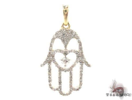 Prong Diamond Hamsa Pendant 35624 Stone