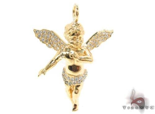 14k gold prong diamond angel pendant 36459 mens diamond pendant womens jewelry unique pendants stone 14k gold prong diamond angel pendant 36459 aloadofball Image collections