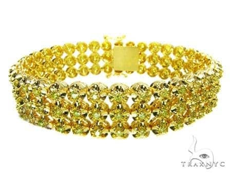 Canary 3 Row Toni Bracelet Mens Diamond Bracelet Yellow Gold 14k