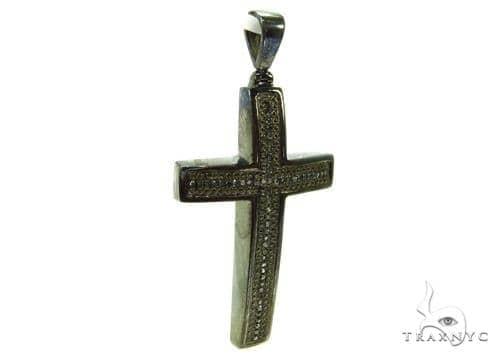 Prong Black Diamond Silver Cross 37180 Silver