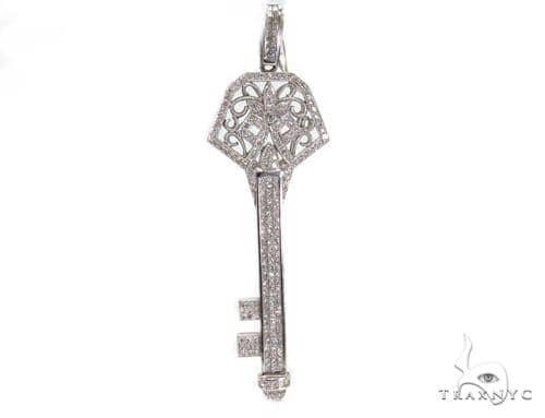 Prong Diamond Key Pendant 39449 Stone