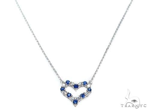 Heart Blue Sapphire Diamond Necklace 40833 Gemstone