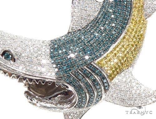 Shark diamond pendant 42364 mens metal white gold 14k round cut 700 ct mens diamond jewelry mens pendants metal shark diamond pendant 42364 aloadofball Choice Image