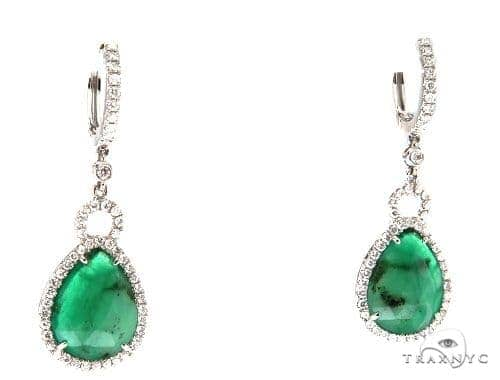 Prong Diamond Emerald Earrings 42414 Stone