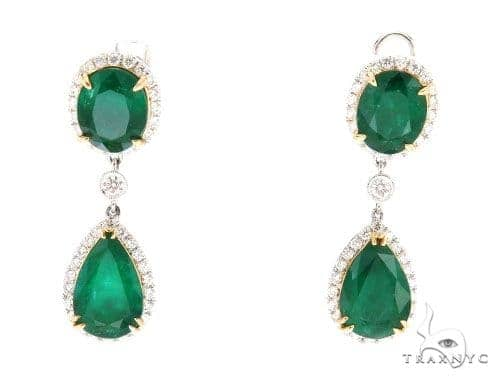 Dione Diamond Emerald Earrings 42420 Stone