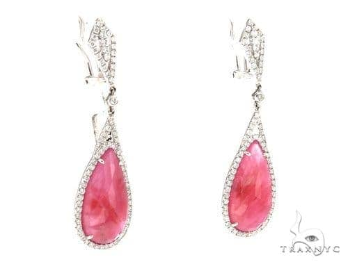 Prong Diamond & Pink Sapphire Earrings 42423 Stone